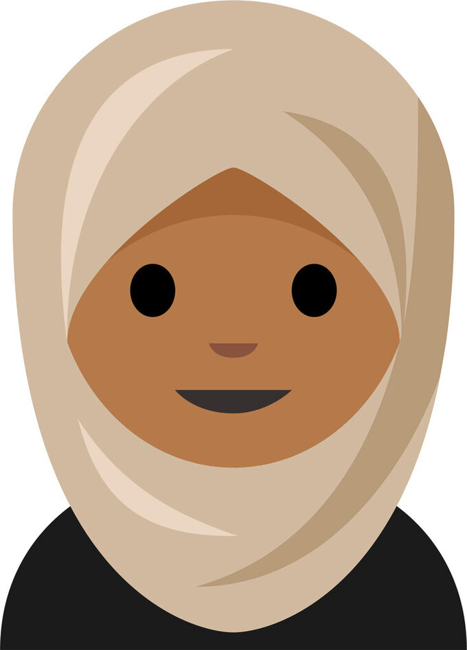 This image released by The Cooper Hewitt, Smithsonian Design Museum shows an emoji depicting a girl in a headscarf which has been added to the museum's digital collection to celebrate inclusion. (Emojination/Cooper Hewitt via AP)