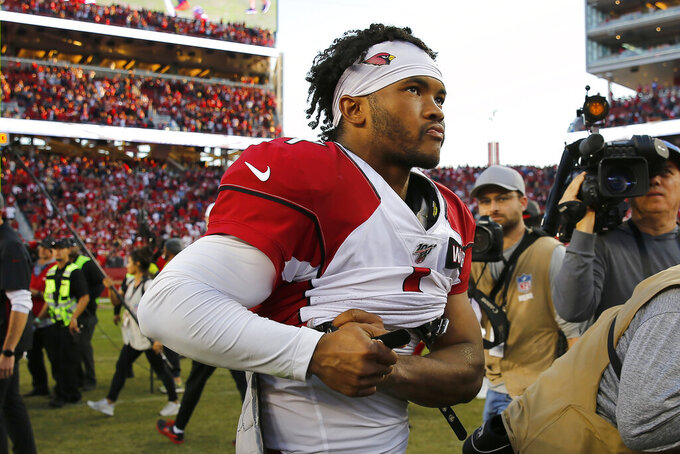 Arizona Cardinals quarterback Kyler Murray (1) stands on the field after an NFL football game between the San Francisco 49ers and the Cardinals in Santa Clara, Calif., Sunday, Nov. 17, 2019. (AP Photo/John Hefti)