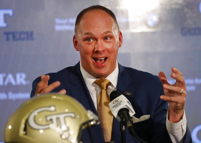 FILE - In this Dec. 7, 2018, file photo, newly hired Georgia Tech football coach Geoff Collins speaks during a news conference in Atlanta. The 2019 Most Likely to Succeed list ranks the new hires in FBS.  (AP Photo/John Bazemore, File)