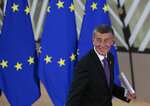 Czech Republic's Prime Minister Andrej Babis arrives for an EU summit at the European Council building in Brussels, Thursday, Feb. 20, 2020. After almost two years of sparring, the EU will be discussing the bloc's budget to work out Europe's spending plans for the next seven years. (AP Photo/Virginia Mayo)