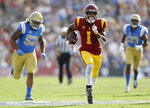 Southern California wide receiver Velus Jones Jr. (1) runs for a touchdown against UCLA during the first half of an NCAA college football game Saturday, Nov. 17, 2018, in Pasadena, Calif. (AP Photo/Marcio Jose Sanchez)