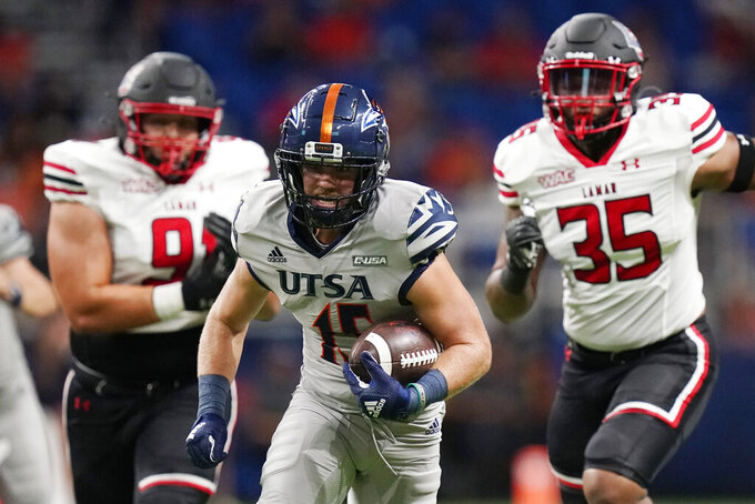 UTSA wide receiver Cade Stoever (15) carries against Lamar during the second half of an NCAA college football game Saturday, Sept. 11, 2021, in San Antonio. (AP Photo/Eric Gay)