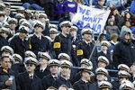 Navy midshipmen watch in the first half of the Liberty Bowl NCAA college football game between Navy and Kansas State Tuesday, Dec. 31, 2019, in Memphis, Tenn. (AP Photo/Mark Humphrey)