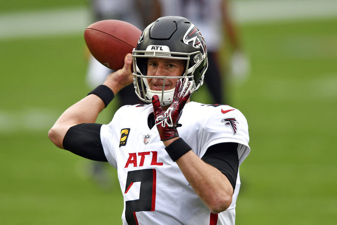 Atlanta Falcons quarterback Matt Ryan (2) throws a pass before an NFL football game against the Tampa Bay Buccaneers Sunday, Jan. 3, 2021, in Tampa, Fla. (AP Photo/Jason Behnken)