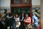 People leave a court room after a trial session for suspects charged in connection with killing of two Scandinavian tourists in Morocco's Atlas Mountains, in Sale, near Rabat, Morocco, Thursday, May 16, 2019. Twenty-four people have gone on trial on Moroccan terrorism charges over a brutal killing of two Scandinavian women hikers that rocked Denmark, Norway and Morocco itself. (AP Photo/Mosa'ab Elshamy)
