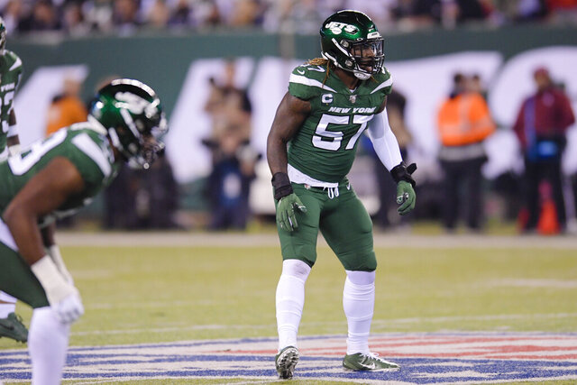 FILE - In this Monday, Oct. 21, 2019 file photo, New York Jets inside linebacker C.J. Mosley (57) plays during the first half of an NFL football game against the New England Patriots , in East Rutherford, N.J.  C.J. Mosley's injury-shortened first season with the Jets is officially over. The star linebacker was placed on injured reserve Tuesday, Dec. 3, 2019 after playing in just two games because of a severe groin injury suffered in New York's season-opening loss to Buffalo. (AP Photo/Bill Kostroun, File)