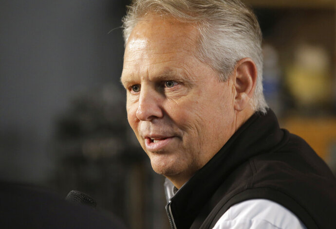 "FILE - In this Sept. 25, 2017, file photo, Boston Celtics general manager Danny Ainge speaks with members of the media during NBA basketball media day Monday,, in Canton, Mass. Ainge spoke to reporters Wednesday, June 5, 2019, for the first time since his second heart attack and vowed ""my role's not going to change.""  (AP Photo/Steven Senne, File)"