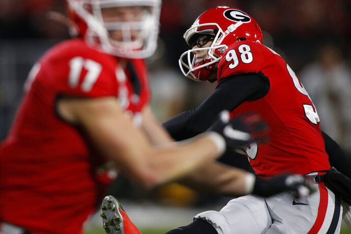 Georgia placekicker Rodrigo Blankenship (98) kicks a field goal in the first half of a NCAA football game between Georgia and Missouri in Athens, Ga., on Saturday, Nov. 9, 2019. (Joshua L. Jones/Athens Banner-Herald via AP)