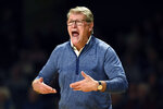 Connecticut head coach Geno Auriemma directs his team during the second half of an NCAA college basketball game against Vanderbilt Wednesday, Nov. 13, 2019, in Nashville, Tenn. Connecticut won 64-51. (AP Photo/Mark Zaleski)