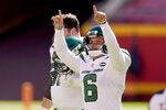FILE - In this Nov. 1, 2020, file photo, New York Jets kicker Sergio Castillo (6) celebrates kicking a 55-yard field goal during the first half of an NFL football game against the Kansas City Chiefs in Kansas City, Mo. Castillo had the same dream a few times every year since he was in the sixth grade. The Jets kicker would be on the field at a stadium when he'd look into the stands and see his mother and future girlfriend in the stands cheering him on. (AP Photo/Charlie Riedel, File)