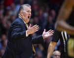 Purdue head coach Matt Painter reacts to a call on the floor during the first half of an NCAA college basketball game against Indiana, Thursday, Feb. 27, 2020, in West Lafayette, Ind. (AP Photo/Doug McSchooler)
