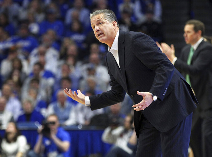 Kentucky head coach John Calipari makes a point during the second half of an NCAA college basketball game against Utah Valley in Lexington, Ky., Monday, Nov. 18, 2019. Kentucky won 82-74. (AP Photo/James Crisp)