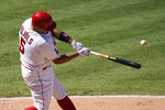 Los Angeles Angels' Albert Pujols hits a double during the seventh inning of a baseball game against the Seattle Mariners Sunday, Aug. 30, 2020, in Anaheim, Calif. (AP Photo/Marcio Jose Sanchez)