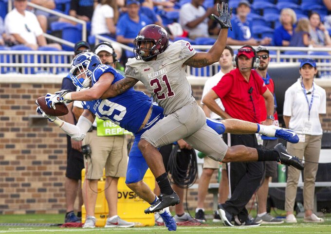 FILE - In this Sept. 22, 2018, file photo, Duke's Jake Bobo (19) makes a diving catch ahead of North Carolina Central's Daryl Smith (21) during the second half of an NCAA college football game in Durham, N.C. Jake Bobo is out indefinitely with a broken clavicle. Team spokesman Art Chase said Bobo had surgery Friday, Aug. 9, 2019, a day after he broke his right collarbone during practice. (AP Photo/Ben McKeown, File)