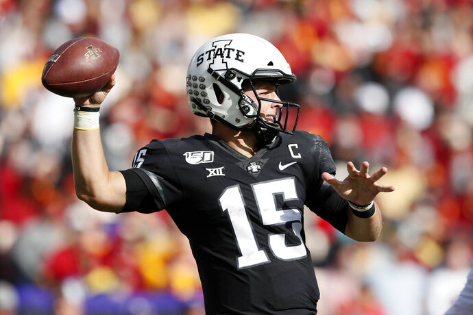 Iowa State quarterback Brock Purdy throws a pass during the second half of an NCAA college football game against TCU, Saturday, Oct. 5, 2019, in Ames, Iowa. Iowa State won 49-24. (AP Photo/Charlie Neibergall)