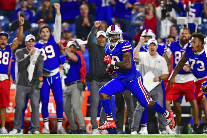 Buffalo Bills running back Marcus Murphy (22) heads for the end zone for a touchdown during the second half of the team's NFL preseason football game against the Minnesota Vikings in Orchard Park, N.Y., Thursday, Aug. 29, 2019. The Bills won 27-23. (AP Photo/David Dermer)