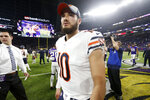 Chicago Bears quarterback Mitchell Trubisky walks off the field after an NFL football game against the Minnesota Vikings, Sunday, Dec. 30, 2018, in Minneapolis. The Bears won 24-10. (AP Photo/Bruce Kluckhohn)