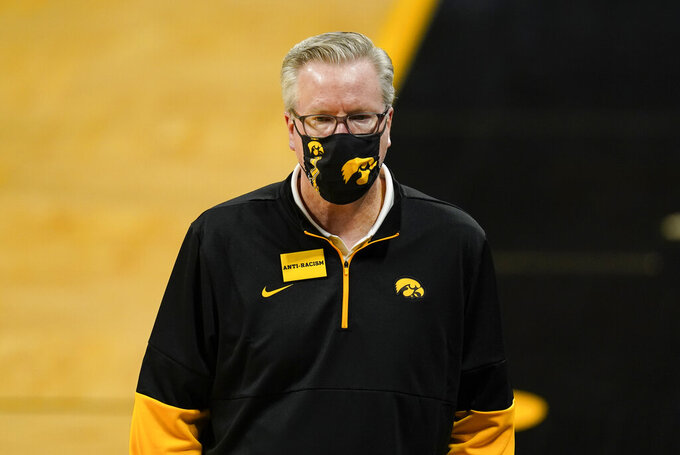 Iowa head coach Fran McCaffery watches from the bench during the second half of an NCAA college basketball game against North Carolina Central, Wednesday, Nov. 25, 2020, in Iowa City, Iowa. Iowa won 97-67. (AP Photo/Charlie Neibergall)