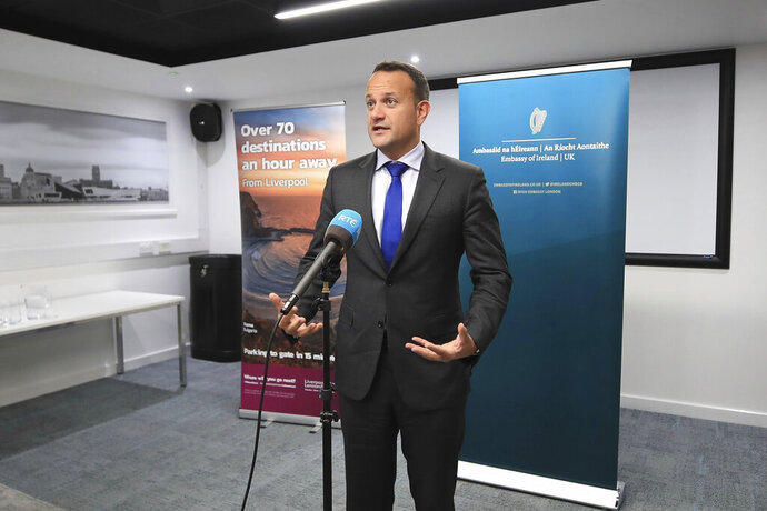 Ireland's Taoiseach Leo Varadkar speaks to the media following private talks with Britain's Prime Minister Boris Johnson, at Liverpool Airport, England, Thursday, Oct. 10, 2019. The leaders of Britain and Ireland said they spotted a