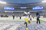 Green Bay Packers' Davante Adams reacts as he leaves the field after an NFL football game against the New York Giants, Sunday, Dec. 1, 2019, in East Rutherford, N.J. The Packers defeated the Giants 31-13.(AP Photo/Bill Kostroun)