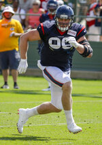 Houston Texans' J.J. Watt participates in a drill during a joint NFL football practice with the Green Bay Packers, Monday, Aug 5, 2019, in Green Bay, Wis. (AP Photo/Mike Roemer)