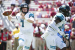 Coastal Carolina quarterback Kilton Anderson (7) attempts a pass against South Carolina during the first half of an NCAA college football game Saturday, Sept. 1, 2018, in Columbia, S.C. South Carolina defeated Coastal Carolina 49-15. (AP Photo/Sean Rayford)