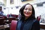 In this Jan. 24, 2020 photo, Maryland State Senator Jill Carter, of Baltimore, stands in the Maryland Senate in Annapolis, Md. Carter is one of 24 candidates running in a special Democratic primary to run for a congressional seat that became vacant with the death of Elijah Cummings in October. (AP Photo/Brian Witte)