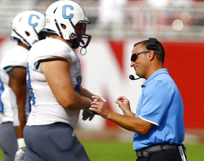 Citadel head coach Brent Thompson reacts to a play as players walk off the field during the second half of an NCAA college football game against Alabama, Saturday, Nov. 17, 2018, in Tuscaloosa, Ala. (AP Photo/Butch Dill)