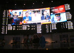 This Oct. 12, 2018 photo shows the sports betting lounge at the Ocean Resort Casino in Atlantic City N.J. At least $9 billion has been bet — legally — on sports in the U.S. in the year since New Jersey's Supreme Court victory cleared the way for other states to do it.  (AP Photo/Wayne Parry)