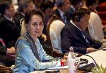 Myanmar leader Aung San Suu Kyi participates in the ASEAN-Japan summit in Nonthaburi, Thailand, Monday, Nov. 4, 2019. (AP Photo/Gemunu Amarasinghe)
