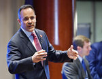 Kentucky Governor and Republican candidate for governor Matt Bevin addresses the audience the Kentucky Farm Bureau candidates forum  in Louisville, Ky., Wednesday, July 17, 2019. (AP Photo/Timothy D. Easley)