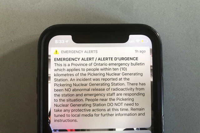 "An emergency alert issued by the Canadian province of Ontario reporting an unspecified ""incident"" at a nuclear plant is shown on a smartphone Sunday, Jan. 12, 2020. Ontario Power Generation later sent a message saying the alert ""was sent in error."