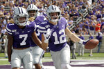 Kansas State wide receiver Landry Weber (12) celebrates with teammates after recovering a fumbled kickoff return during the first half of an NCAA college football game against Bowling Green Saturday, Sept. 7, 2019, in Manhattan, Kan. (AP Photo/Charlie Riedel)