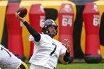 Pittsburgh Steelers quarterback Ben Roethlisberger (7) passes during an NFL football practice, Wednesday, Aug. 18, 2021, in Pittsburgh. (AP Photo/Keith Srakocic)