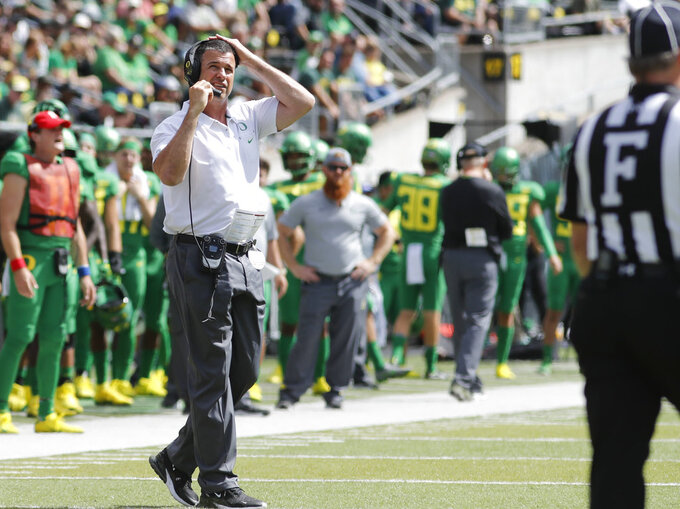 Oregon head coach Mario Cristobal works the sidelines against Portland State during an NCAA college football game in Eugene, Ore., Saturday, Sept. 8, 2018. (AP Photo/Thomas Boyd)