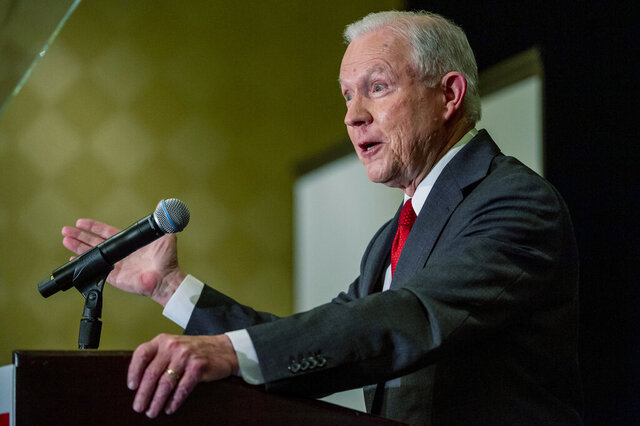 Jeff Sessions addresses the crowd at his watch party following Alabama's state primary, Tuesday, March 3, 2020, in Mobile, Ala. (AP Photo/Vasha Hunt)