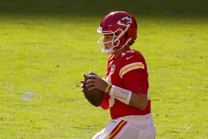 Kansas City Chiefs' Patrick Mahomes drops back to pass in the second half of an NFL football game against the New York Jets on Sunday, Nov. 1, 2020, in Kansas City, Mo. (AP Photo/Charlie Riedel)
