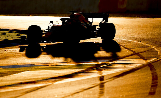 Max Verstappen of Aston Martin Red Bull Racing drives during a Formula One pre-season testing session at the Barcelona Catalunya racetrack in Montmelo, outside Barcelona, Spain, Wednesday, Feb. 19, 2020. (AP Photo/Joan Monfort)