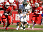 South Florida quarterback Blake Barnett (11) runs downfield during the first half of an NCAA college football game against Houston, Saturday, Oct. 27, 2018, in Houston. (AP Photo/Eric Christian Smith)