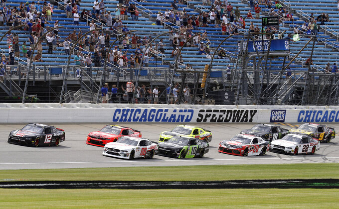 Drivers start a NASCAR Xfinity Series auto race at Chicagoland Speedway in Joliet, Ill., Saturday, June 29, 2018. (AP Photo/Nam Y. Huh)
