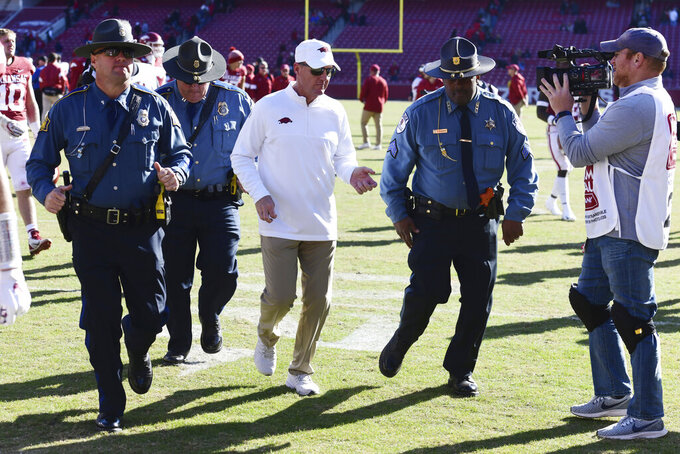 The Latest: Arkansas fires Chad Morris after going 4-18