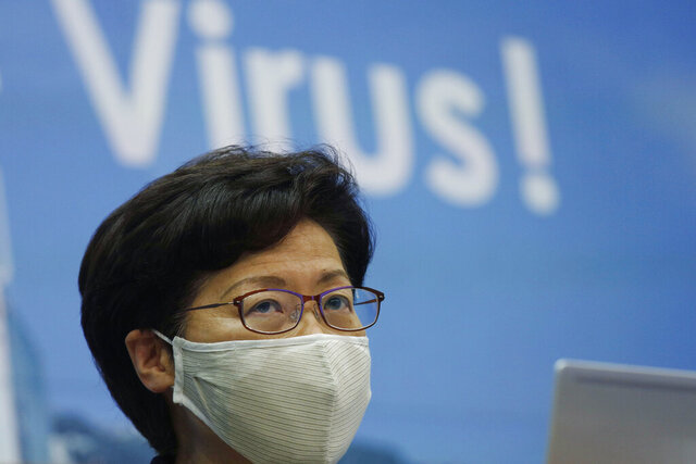 Hong Kong Chief Executive Carrie Lam speaks during a press conference in Hong Kong, Friday, July 31, 2020. She announce to postpone legislative elections scheduled for Sept. 6, citing a worsening coronavirus outbreak. (AP Photo/Kin Cheung)