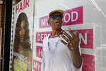 Doug Brinson talks about Eric Garner Tuesday, Aug. 20, 2019, where he died in a police chokehold five years ago, in the Staten Island borough of New York. After five years of investigations and protests, the New York City Police Department on Monday fired Officer Daniel Pantaleo, who was involved in the 2014 chokehold death of Garner, the black man whose dying gasps of