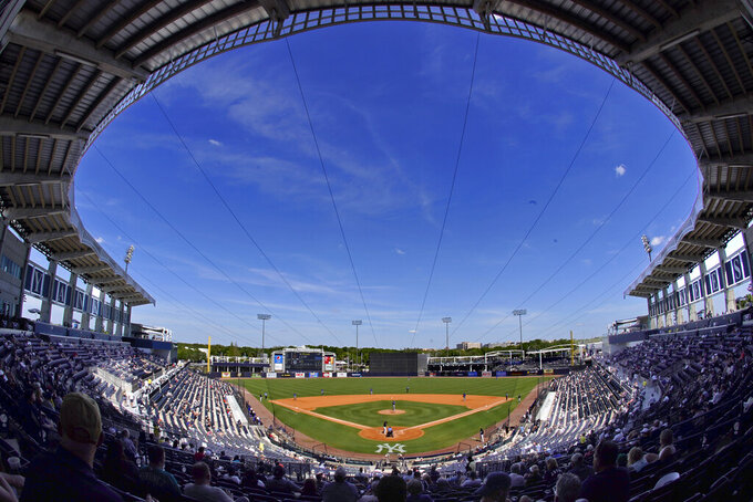 The New York Yankees face the Toronto Blue Jays in a spring training exhibition baseball game with a limited number of socially distanced fans in attendance at George M. Steinbrenner Field in Tampa, Fla., Saturday, March 27, 2021. (AP Photo/Gene J. Puskar)