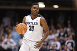 FILE - In this Feb. 20, 2018, file photo, Butler forward Kelan Martin (30) brings the ball up court against Creighton in the first half of an NCAA college basketball game in Indianapolis. Martin has always been a special scorer. This season, he learned to thrive in a new role - team leader. (AP Photo/Michael Conroy, File)