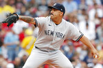 New York Yankees' Nestor Cortes pitches during the first inning of a baseball game against the Boston Red Sox, Saturday, Sept. 25, 2021, in Boston. (AP Photo/Michael Dwyer)