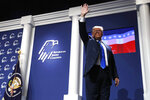 President Donald Trump waves as he leaves the stage after speaking at the Republican Jewish Coalition's annual leadership meeting, Saturday April 6, 2019, in Las Vegas. (AP Photo/Jacquelyn Martin)