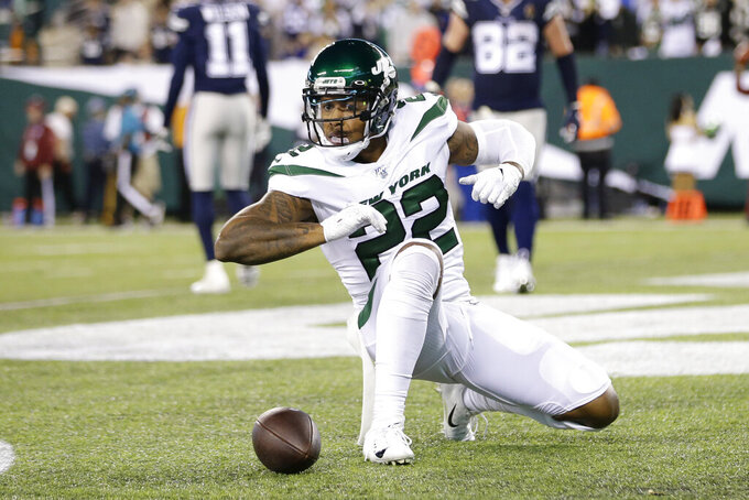 New York Jets' Trumaine Johnson reacts after the Dallas Cowboys failed to make a two-point conversion during the second half of an NFL football game, Sunday, Oct. 13, 2019, in East Rutherford, N.J. The Jets defeated the Cowboys 24-22. (AP Photo/Frank Franklin II)