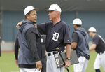 Detroit Tigers bench coach Steve Liddle, right, talks with first baseman Miguel Cabrera, left, at the Detroit Tigers spring training baseball facility, Monday, Feb. 18, 2019, in Lakeland, Fla. (AP Photo/Lynne Sladky)