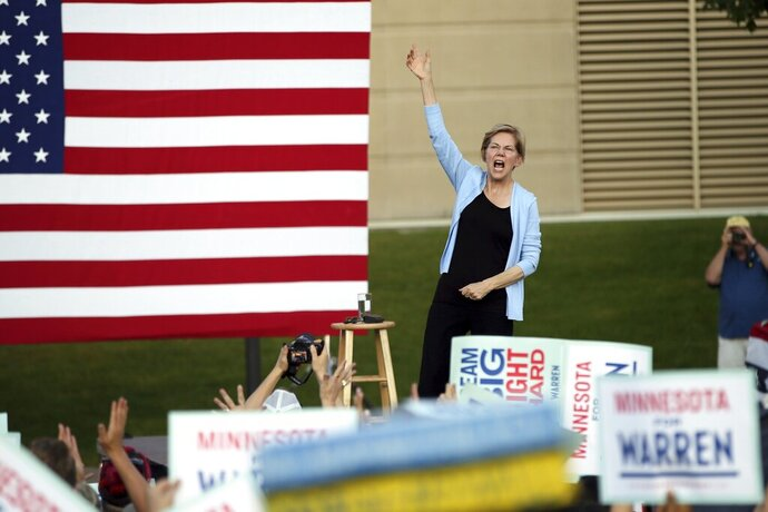 Democratic presidential candidate Elizabeth Warren, D-Mass., speaks during a rally Monday, Aug. 19, 2019 at Macalaster College during a campaign appearance in St. Paul, Minn. (AP Photo/Jim Mone)